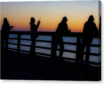 Pier Fishing At Dawn II Canvas Print by Betsy Knapp