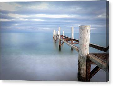 Pier In Pampelonne Beach Canvas Print by Dhmig Photography