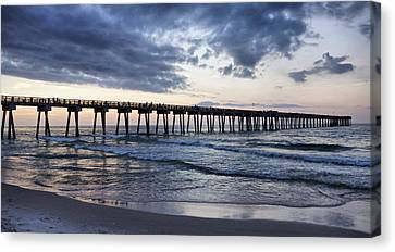 Pier In The Evening Canvas Print by Sandy Keeton