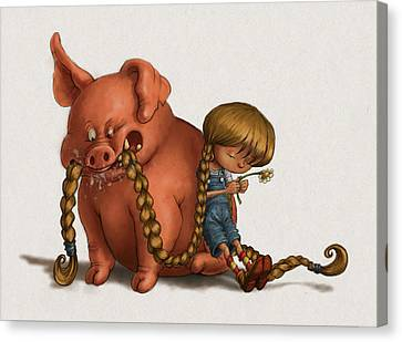 Pig Tales Chomp Canvas Print by Andy Catling