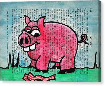 Piggy Contemplating Bacon Canvas Print by Jera Sky