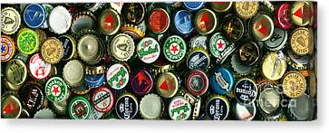 Pile Of Beer Bottle Caps . 3 To 1 Proportion Canvas Print by Wingsdomain Art and Photography