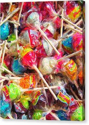 Pile Of Lollipops - Painterly Canvas Print by Wingsdomain Art and Photography