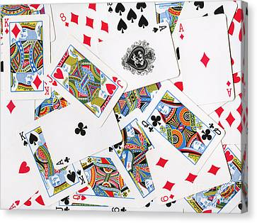 Pile Of Playing Cards Canvas Print by Wingsdomain Art and Photography