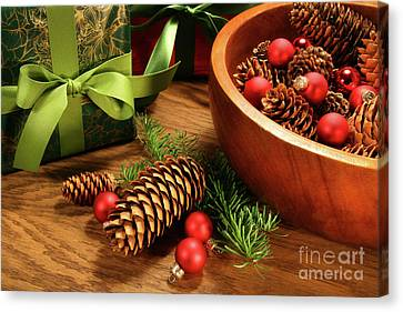 Pine Branches With Gift Tag  Canvas Print by Sandra Cunningham