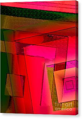 Pink And Green Geometric Art Canvas Print by Mario Perez