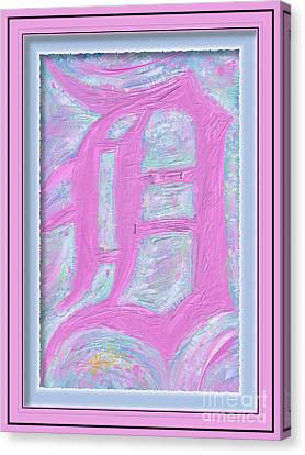 Pink Old English D Framed Canvas Print by Donald Pavlica