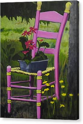 Pink Summer Chair Canvas Print by Fran Atchison