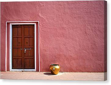 Pink Wall And The Door Canvas Print by Saptak Ganguly