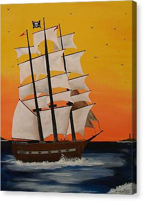 Pirate Ship At Dawn Canvas Print by Paul F Labarbera
