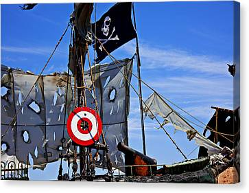 Pirate Ship With Target Canvas Print by Garry Gay