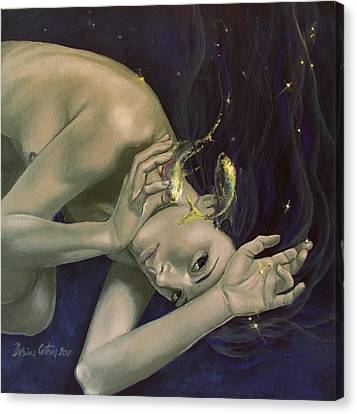 Pisces From Zodiac Series Canvas Print by Dorina  Costras