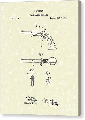 Pistol 1864 Patent Art  Canvas Print by Prior Art Design
