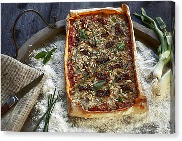 Pizza With Herbs Canvas Print by Joana Kruse
