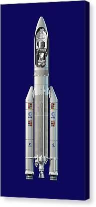 Planck And Herschel Rocket, Artwork Canvas Print by David Ducros