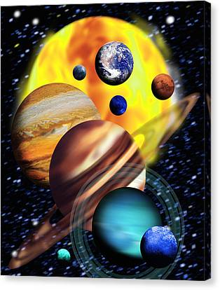 Planets & Their Relative Sizes Canvas Print by Victor Habbick Visions