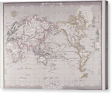 Planispheric Map Of The World Canvas Print by Fototeca Storica Nazionale