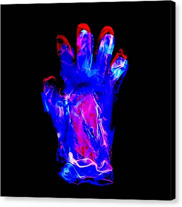 Plastic Glove, Negative Image Canvas Print by Kevin Curtis