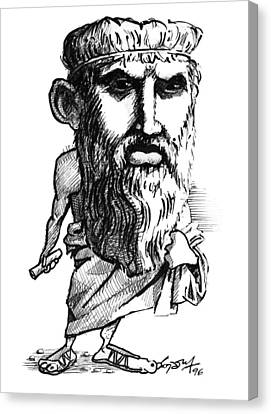 Plato, Caricature Canvas Print by Gary Brown