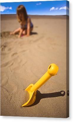 Playtime At The Beach Canvas Print by Meirion Matthias