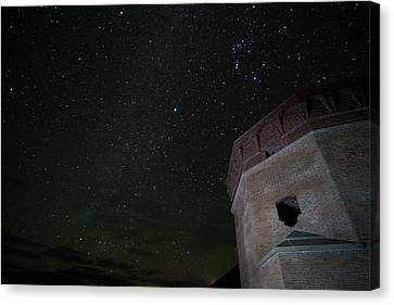 Pleiades Over Fort Jackson In Florida Keys Canvas Print by Andres Leon