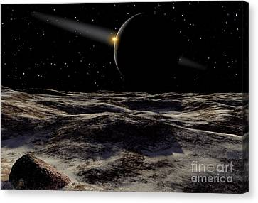 Pluto Seen From The Surface Canvas Print by Ron Miller
