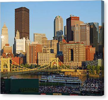 Pnc Park And River Boat Canvas Print by Steve Whalen