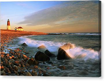 Point Judith Lighthouse Seascape Canvas Print by Roupen  Baker