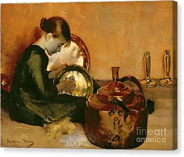 Polishing Pans  Canvas Print by Marianne Stokes