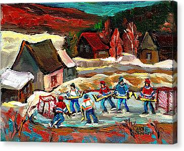 Pond Hockey 3 Canvas Print by Carole Spandau