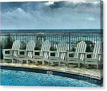 Poolside With A View Canvas Print by Julie Dant