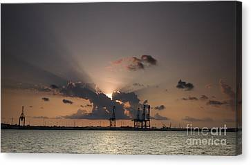 Port Of Charleston Sunset Canvas Print by Dustin K Ryan