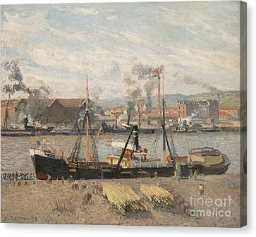 Port Of Rouen Canvas Print by Camille Pissarro