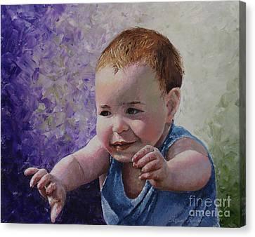 Portrait Of A Boy - Catch Me Canvas Print by Tatjana Popovska