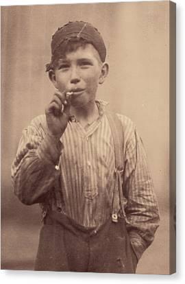 Portrait Of A Boy Smoking, Original Canvas Print by Everett