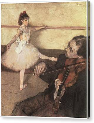 Portrait Of A Dancer At Her Lesson Canvas Print by Edgar Degas