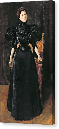 Portrait Of A Lady In Black Canvas Print by William Merritt Chase