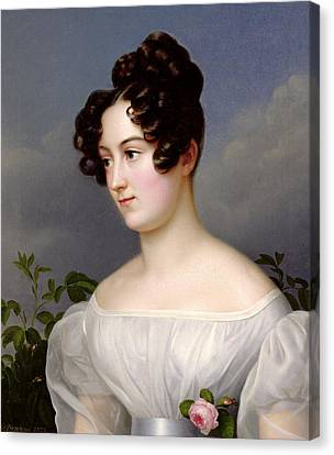 Portrait Of A Young Woman Canvas Print by  Franz Seraph Stirnbrand