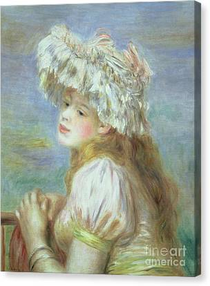 Portrait Of A Young Woman In A Lace Hat Canvas Print by Pierre Auguste  Renoir