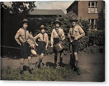 Portrait Of Boy Scouts At Abinger Canvas Print by Clifton R. Adams