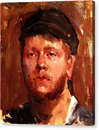 Portrait Of Irish Fisherman With Weary Sad Eyes And Hard Work Face Deep Lines And Lost Souls Cap Canvas Print by M Zimmerman MendyZ