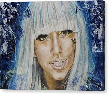 Portrait Of Lady Gaga Canvas Print by Agnes V