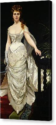 Portrait Of Mademoiselle X Canvas Print by Charles Emile Auguste Carolus Duran