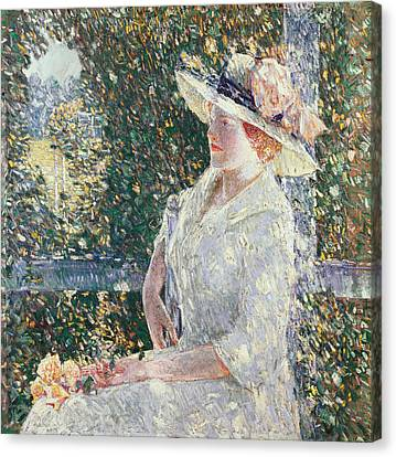 Portrait Of Miss Weir Canvas Print by Childe Hassam