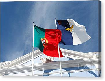 Portugal And Azores Flags Canvas Print by Gaspar Avila