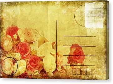 Postcard With Floral Pattern Canvas Print by Setsiri Silapasuwanchai