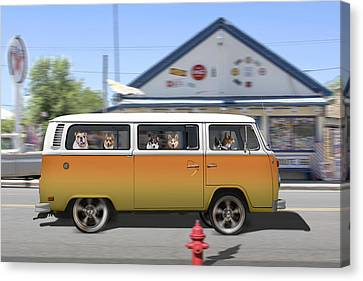 Postcards From Otis - Road Trip  Canvas Print by Mike McGlothlen