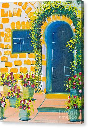 Poster Color Drawing Door And Flowers Canvas Print by Mongkol Chakritthakool