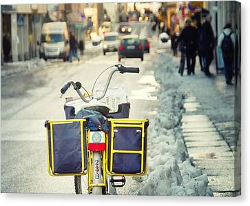 Postman Bicycle Sweden Canvas Print by Stelios Kleanthous