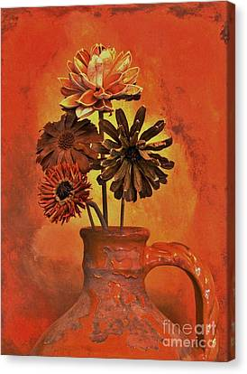 Pottery With Dried Flowers Canvas Print by Marsha Heiken